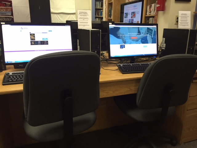 Public computer work stations available at the library.