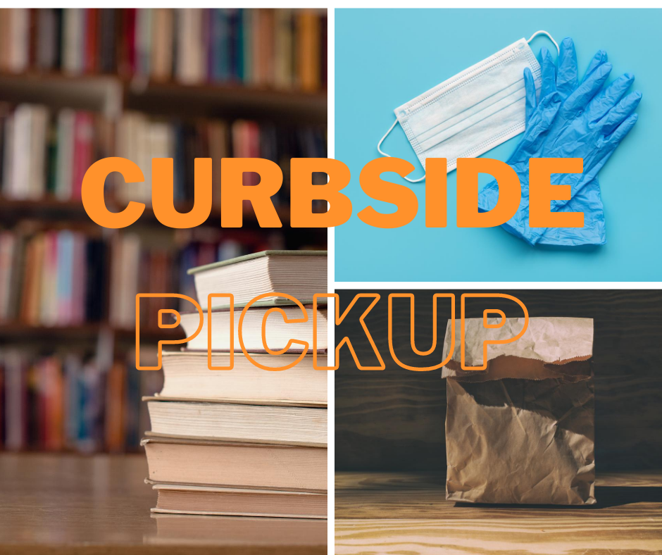 Curbside pickup showing stack of books, paper bag, face mask and rubber gloves