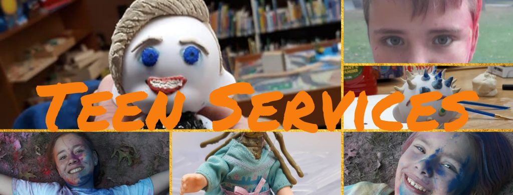 Header for teen services of collage of teens showing activities they have participated in in the past: powder paint tag, Frankentoys, and DIY Funko Pops.