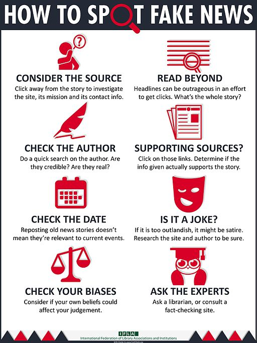 How to spot fake news: Consider the source, read beyond headlines, check the author, read sources, check the date, is it satire, check your biases, ask experts