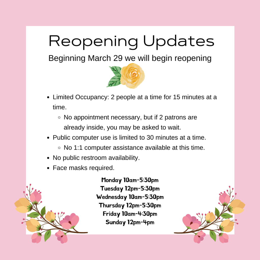 New reopening updates.